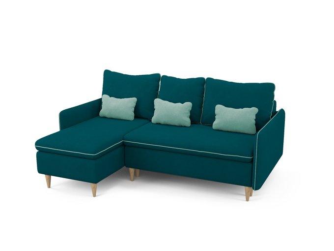 Угловой диван-кровать левый Ron сине-зеленого цвета