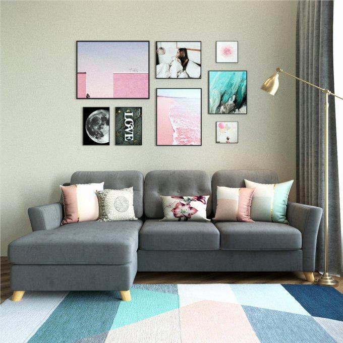 Угловой диван-кровать Raf EKH голубой