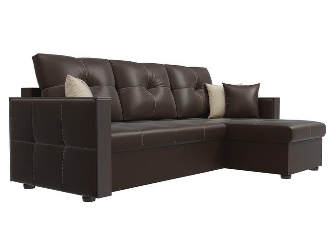 Угловой диван-кровать Валенсия темно-коричневого цвета (экокожа)
