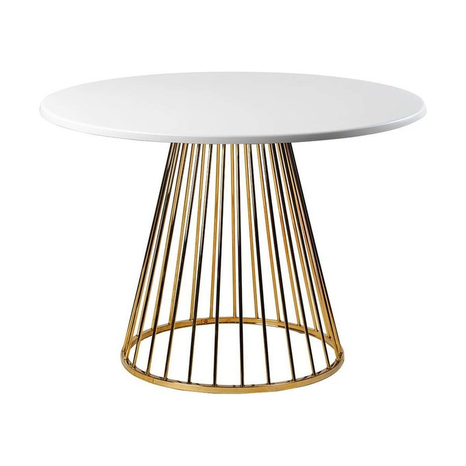 Обеденный стол Twister Matte Gold из дерева и металла
