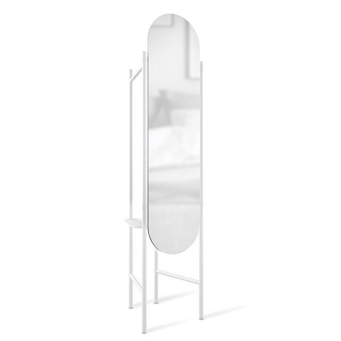 Зеркало напольное овальное Vala с вешалками белого цвета
