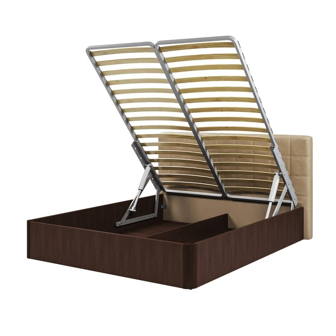 Кровать Магна 160х200 с бежевым изголовьем и подъемным механизмом