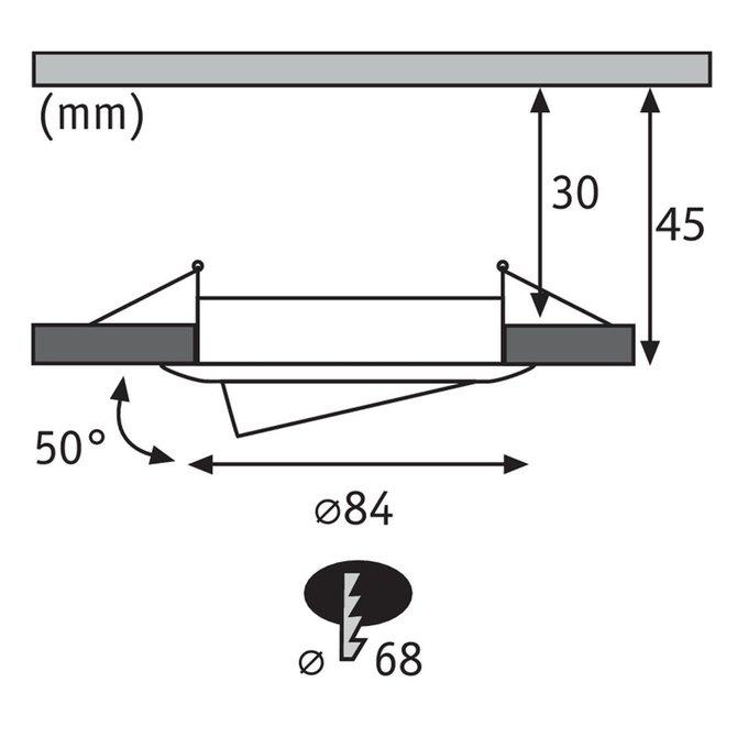 Встраиваемый светодиодный светильник Premium Slim Coin серого цвета