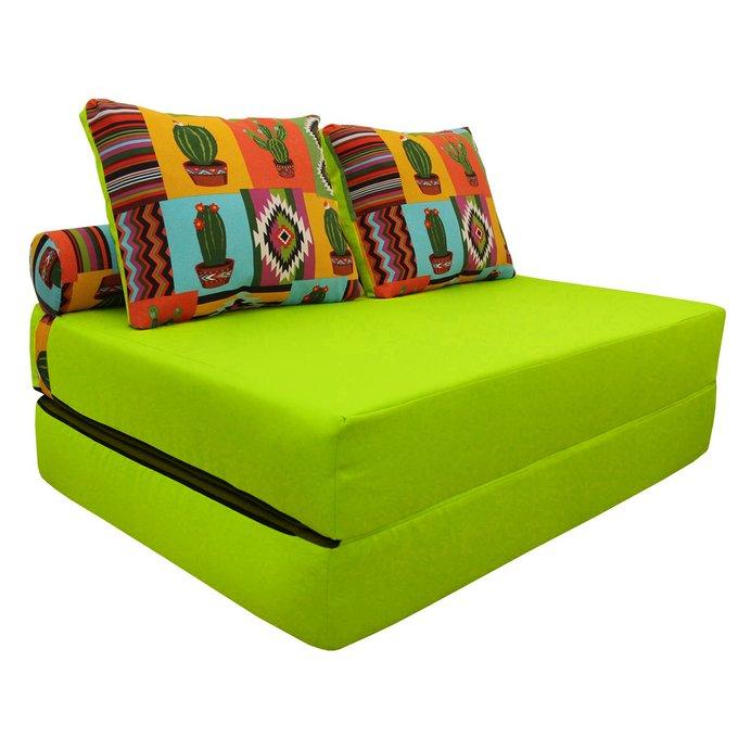 Диван-кровать с двумя подушками и валиком