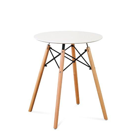 Стол круглый с ножками из массива бука и столешницей белого цвета 60х70