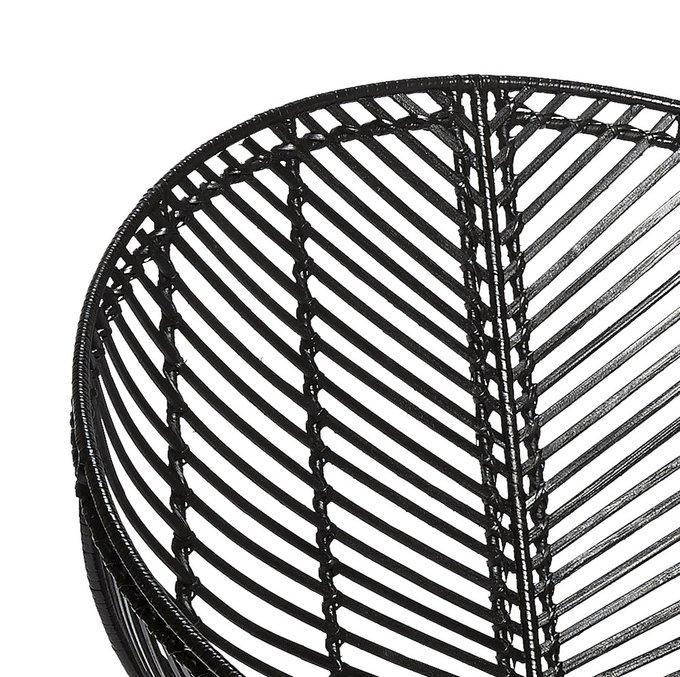 Кресло плетенное из ротанга черного цвета
