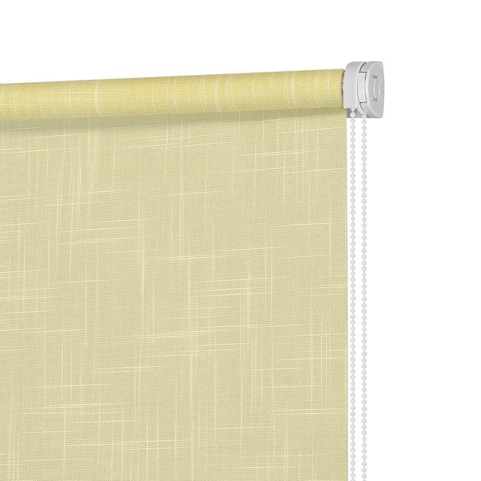 Рулонная штора Миниролл Шантунг лимонного цвета 120x160