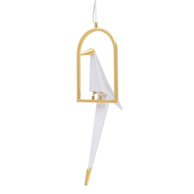 Светильник в форме птички золотого цвета