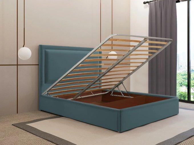 Кровать Юнит 140х200 цвета морской волны с подъемным механизмом