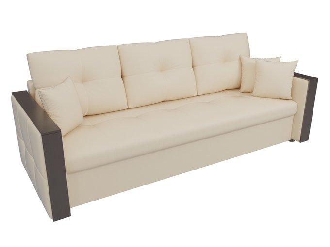 Прямой диван-кровать Валенсия бежевого цвета (экокожа)
