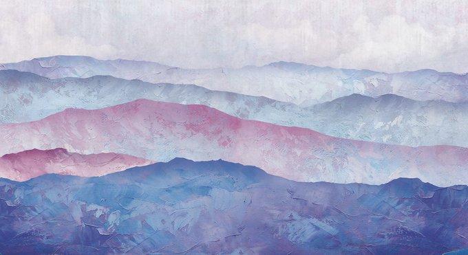Фотообои Красочные горы в сине-розовых цветах