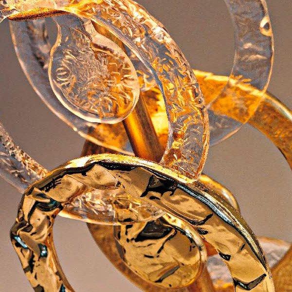 Подвесная люстра Eurolampart RINGS с кольцами прозрачного и золотого цвета ручной работы
