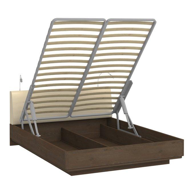 Кровать Сиена 140х200 с бежевым изголовьем и двумя светильниками