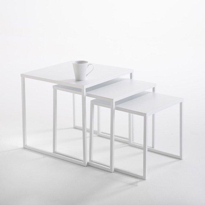 Набор из трех журнальных столиков Hiba белого цвета