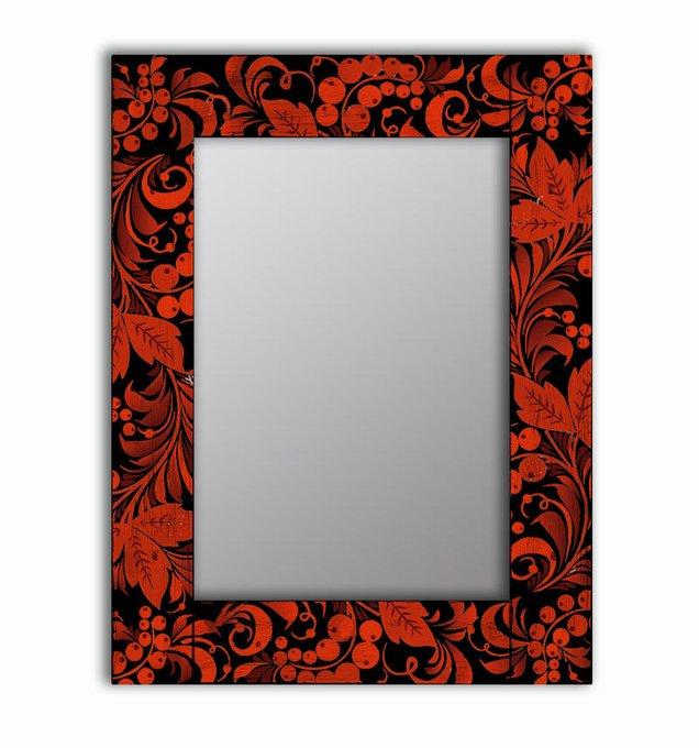 Настенное зеркало Калина в раме из массива сосны 55х55