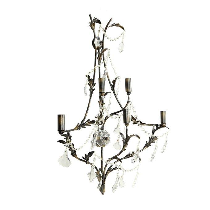 Бра MM Lampadari Settecento из кованого металла с декором из прозрачного хрусталя
