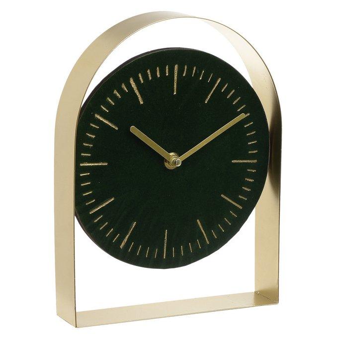 Часы настольные с кварцевым механизмом черно-золотистого цвета