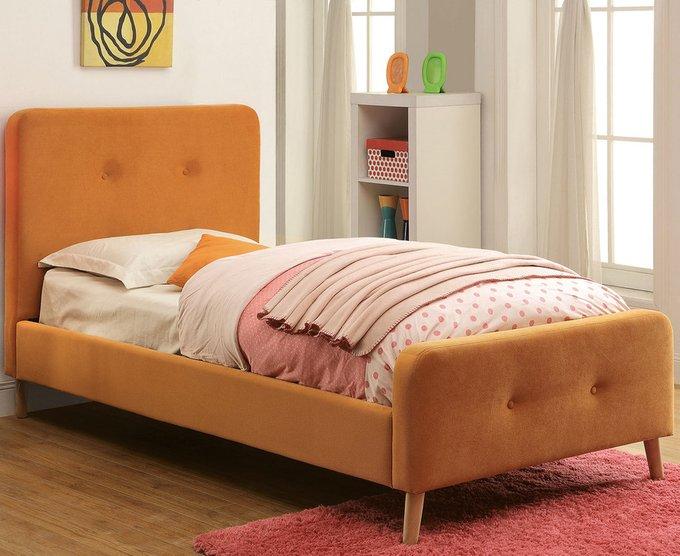 Кровать Button Tufted Flannelette Orange оранжевого цвета 90х200