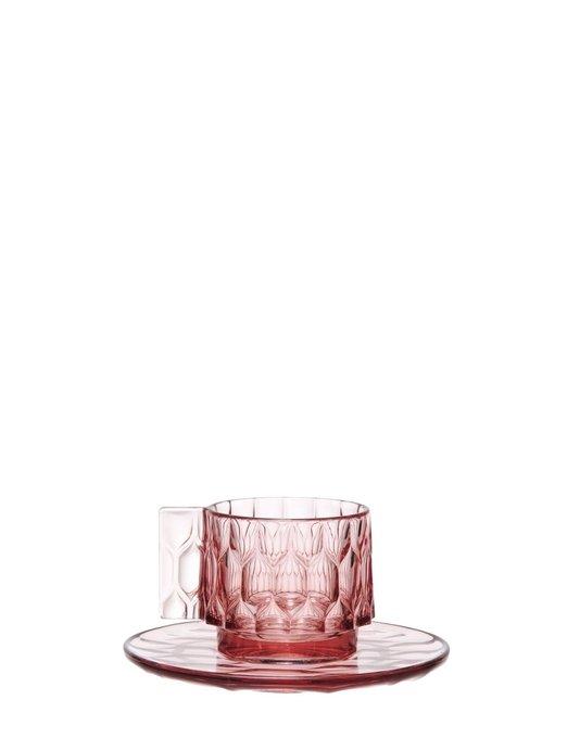 Чашка с блюдцем Jellies Family розового цвета