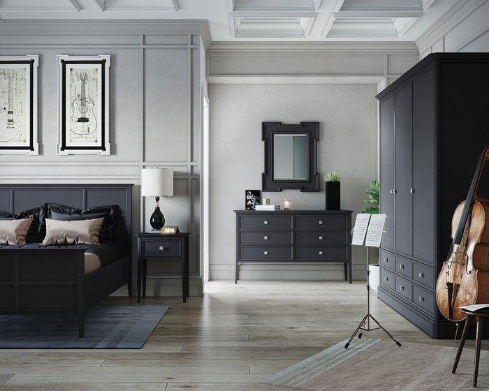 Шкаф трехстворчатый с ящиками Ellington черного цвета