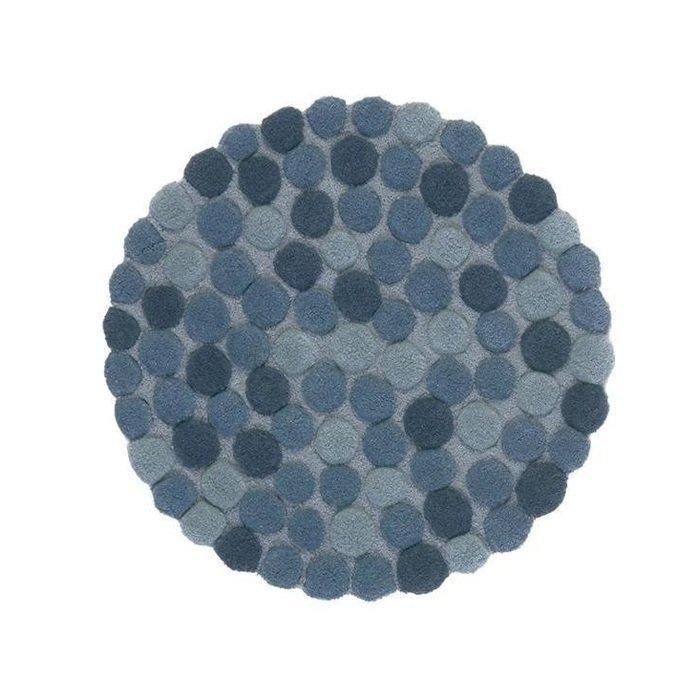 Круглый ковер Adok синего цвета 100 см