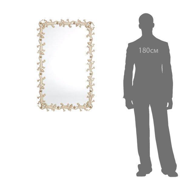 Зеркало настенное Ящерицы бело-золотого цвета