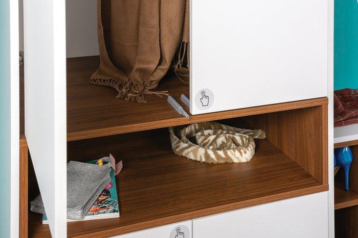 Шкаф Лайт цвета орех селект каминный/белый премиум