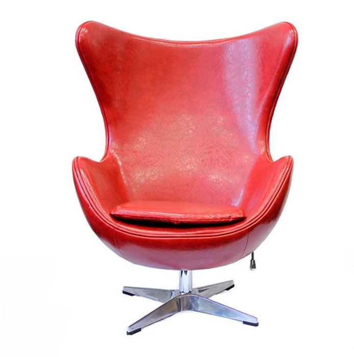 Кресло Egg Chair красного глянцевого цвета из экокожи