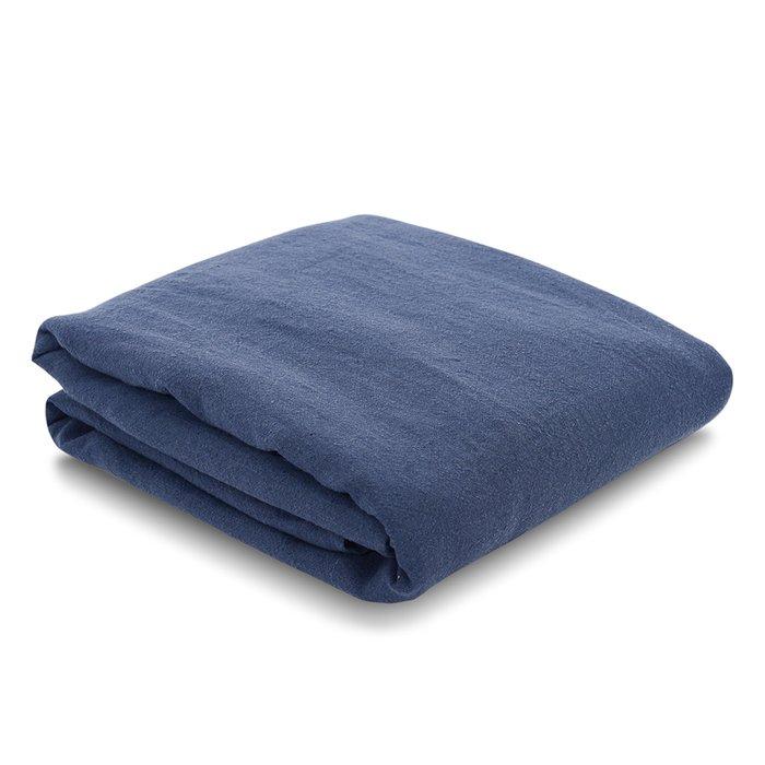 Простыня на резинке из льна темно-синего цвета Essential 180х200х28
