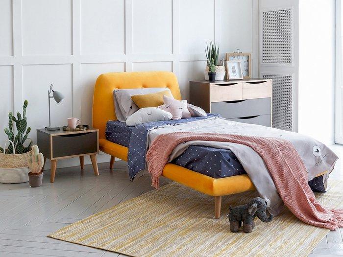 Кровать Loa 90х200 бордового цвета