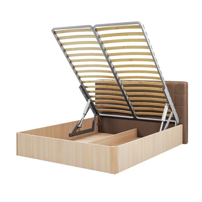Кровать Магна 180х200 с коричневым изголовьем и подъемным механизмом