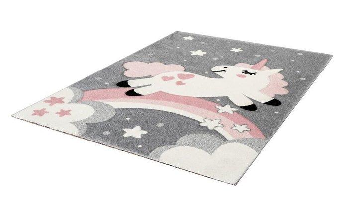 Детский ковер Amigo Unicorn Pink серого цвета 120х170