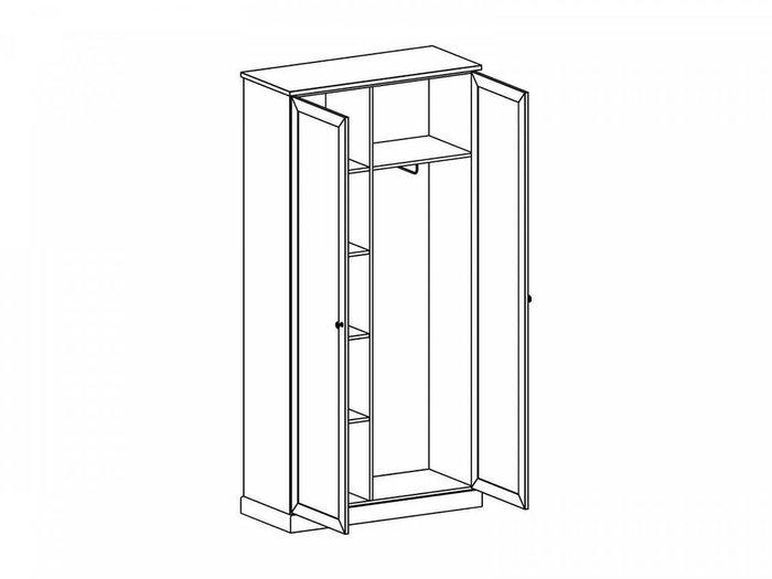Шкаф двухдверный Caprio белого цвета с зеркалом