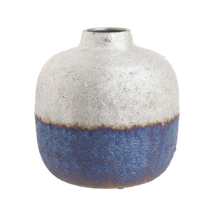 Металлическая ваза бело-синего цвета