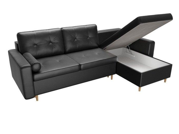 Угловой диван-кровать Белфаст черного цвета (экокожа)
