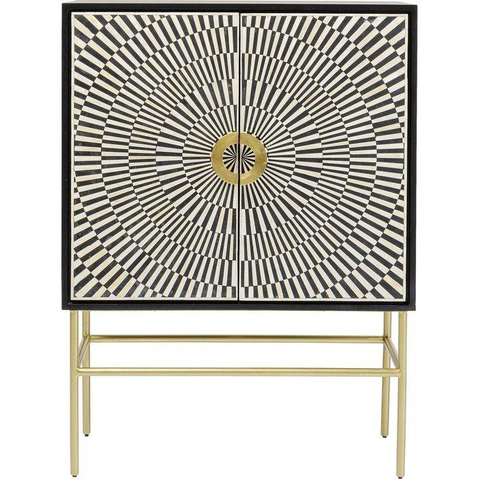 Шкаф барный Piano с черно-белым принтом