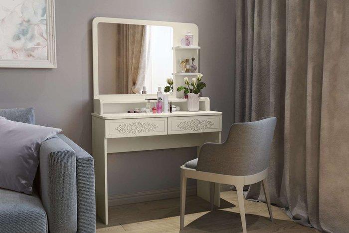 Туалетный столик Ассоль Лайт бежевого цвета с зеркалом и полками
