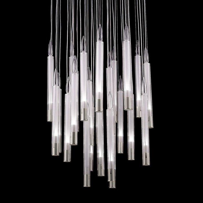 Подвесной светильник с подвесами в виде свечи из белого стекла