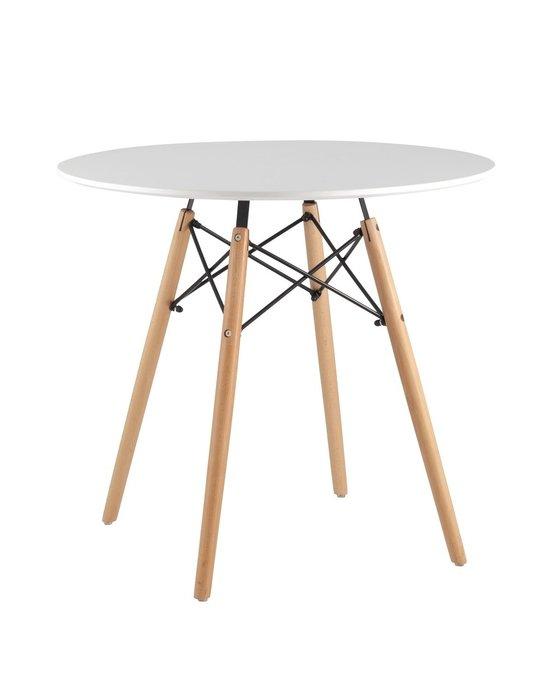 Дизайнерский стол белого цвета с ножками из массива бука D80