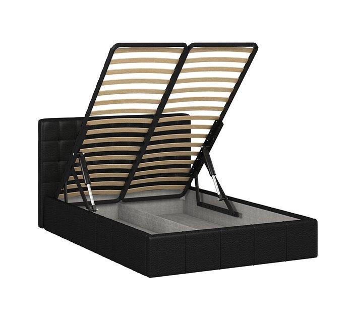 Кровать Инуа 140х200 черного цвета с подъемным механизмом