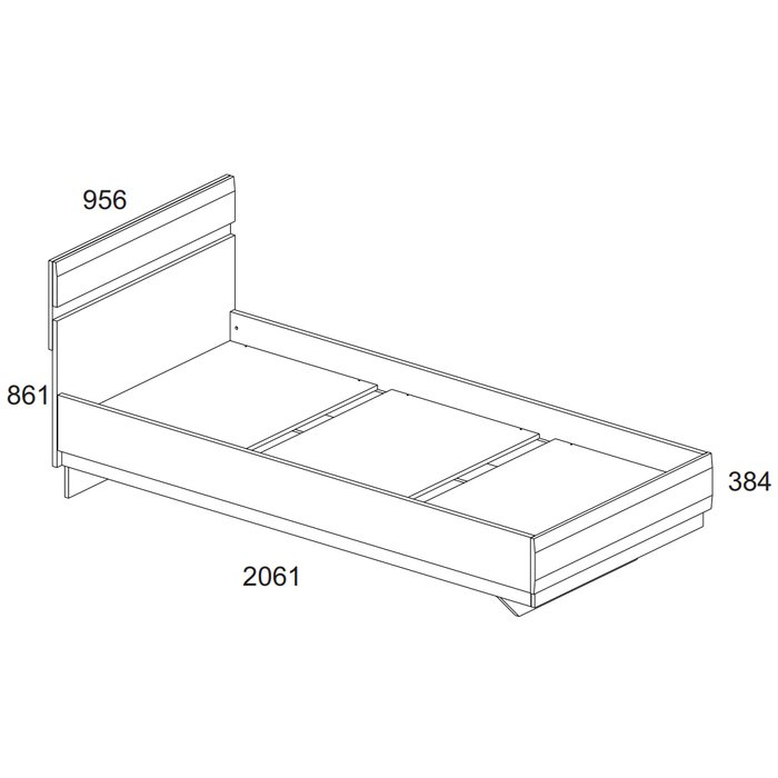 Кровать Linate без подъемного механизма 90х200 белого цвета