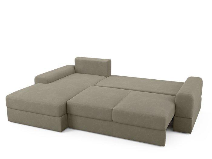 Угловой диван-кровать левый Elke бежево-серого цвета