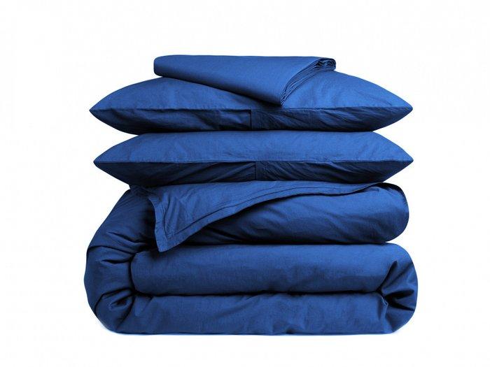 Комплект постельного белья синего цвета 180х215