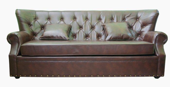 Кожаный диван Tesco коричневого цвета