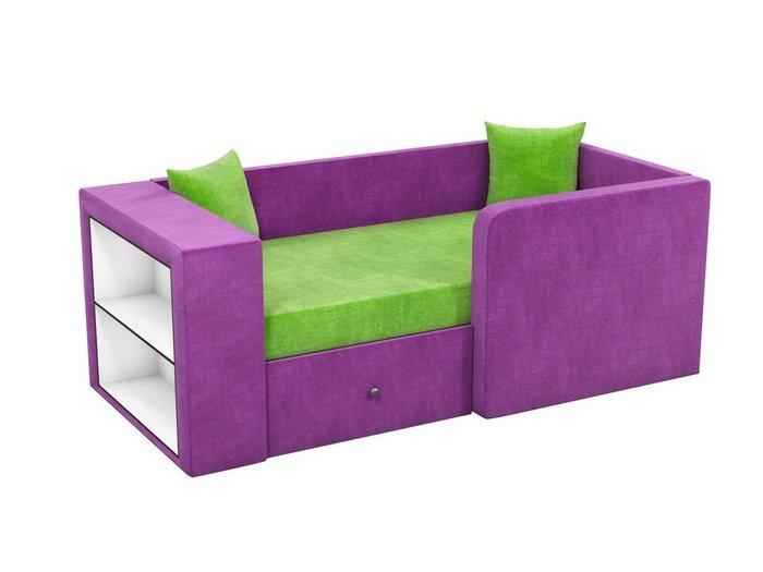 Детская кровать-диван Орнелла зелено-фиолетового цвета