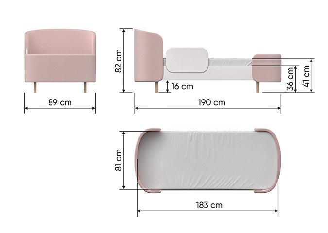 Кровать Kidi Soft 80х180 бело-бежевого цвета