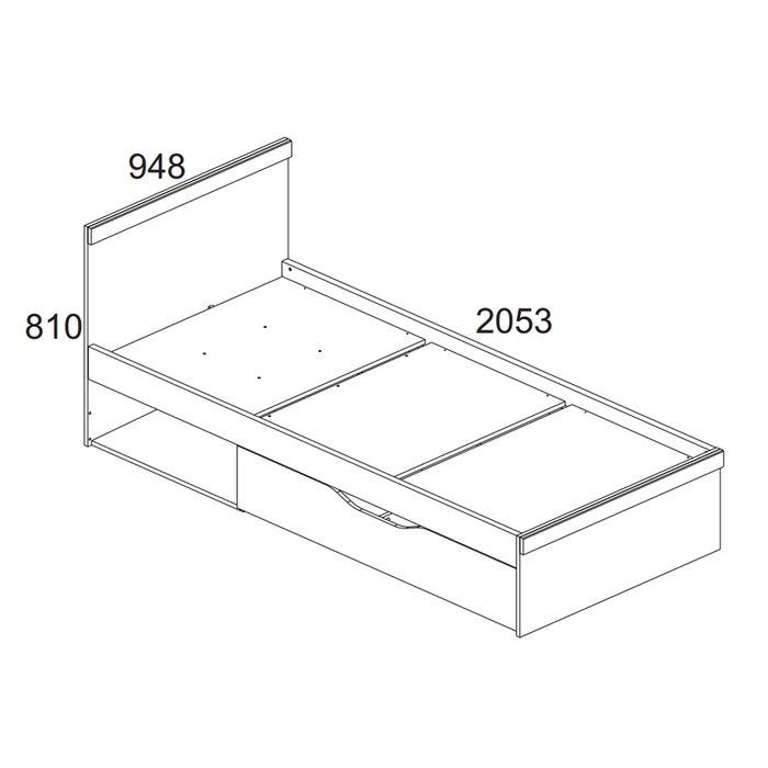 Кровать Oskar без подъемного механизма 90х200 цвета дуб Санремо