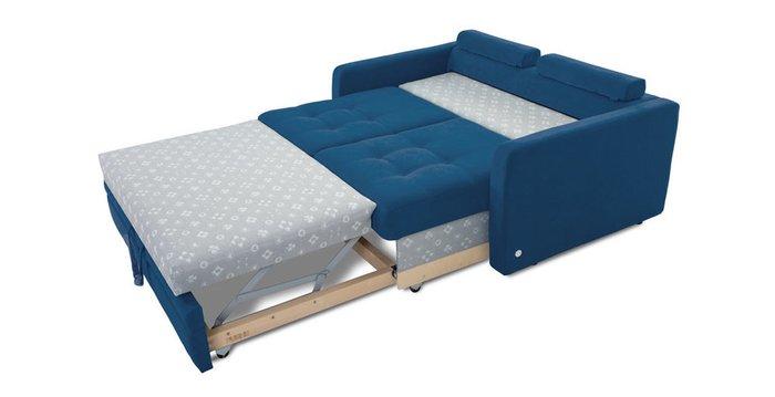 Прямой диван-кровать Бруно синего цвета