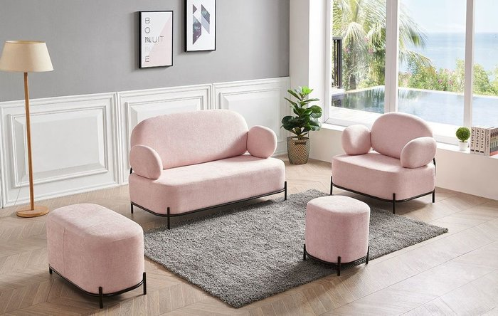 Пуф Coco розового цвета