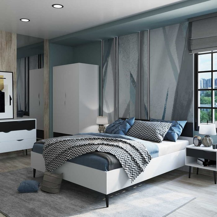 Кровать Oslo 140х200 с черным изголовьем